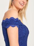 Glitter Lace Off The Shoulder Gown, Blue, hi-res