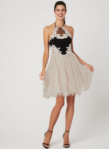 Robe avec corsage brodé et jupe bouffante, Noir, hi-res,  short prom dress