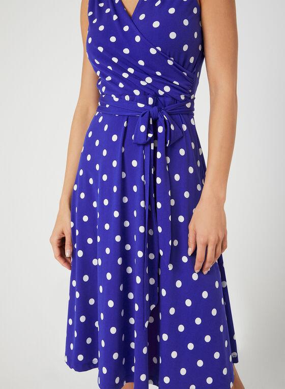 Robe style cache-cœur à pois, Bleu, hi-res
