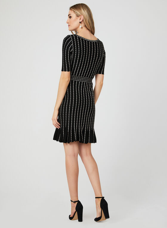 Stripe Print Gored Dress, Black, hi-res