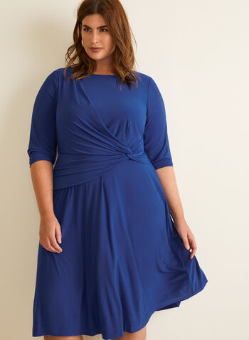 Faux Wrap Jersey Dress, Blue,  dress, scoop neck, faux wrap, cocktail, 3/4 sleeves, jersey, twist, spring summer 2020
