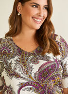 Paisley Print Elbow Sleeve Top, Multi