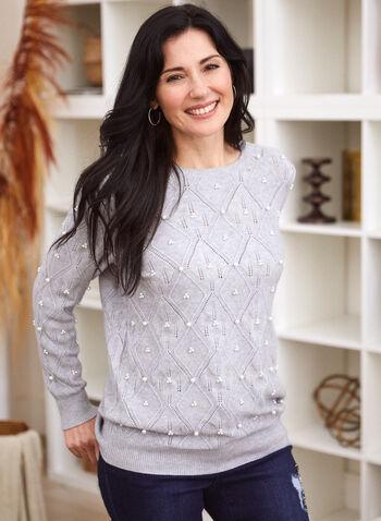 Pull en tricot pointelle à détails perlés, Gris,  pull, tricot, haut, col rond, encolure arrondie, manches longues, détail, perle, pointelle, automne hiver 2021
