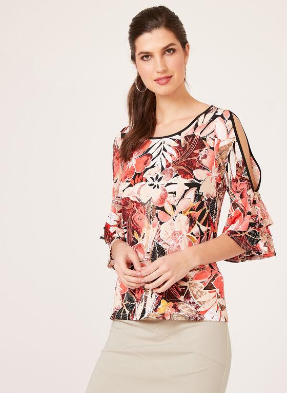 Floral Print Cold Shoulder Blouse, Orange, hi-res