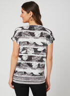 Palm Print Burnout T-Shirt, Black, hi-res