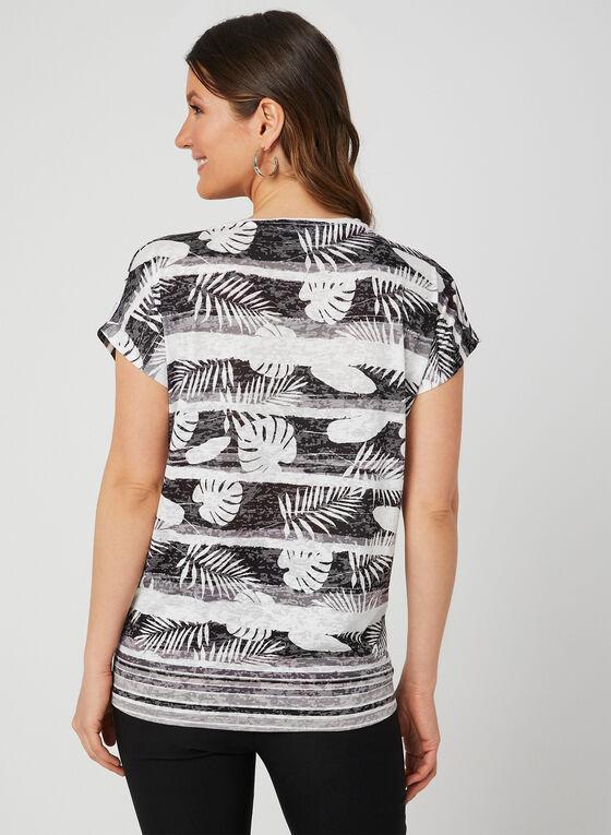 T-shirt motif feuilles et strass, Noir, hi-res