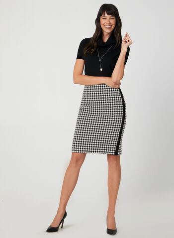 Houndstooth Pencil Skirt, Black, hi-res,  fall winter 2019, houndstooth, knit fabric, pencil skirt,