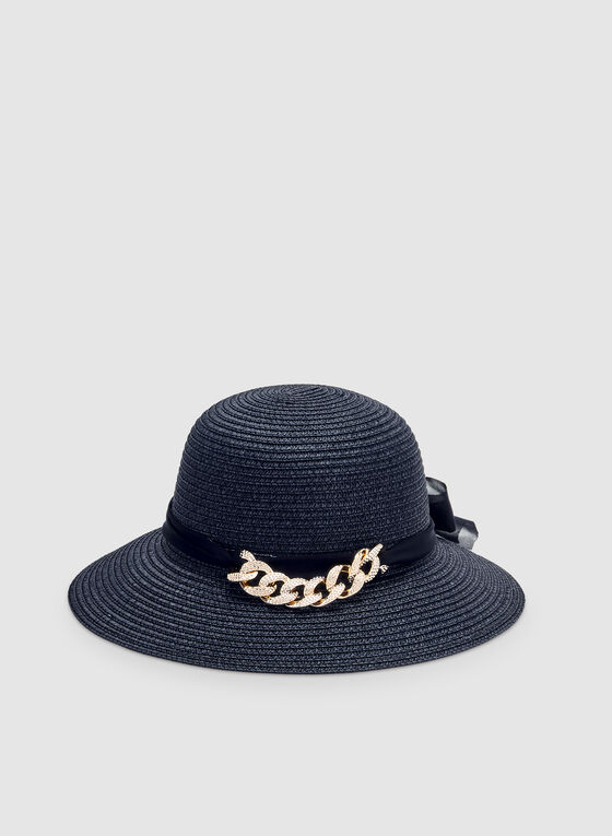 Chain Detail Straw Hat, Blue, hi-res