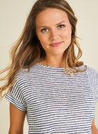 Stripe Print Linen-Like Tee, Blue