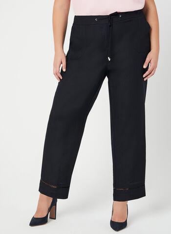 Modern Fit Wide Leg Pants, Blue, hi-res,  linen, mid rise, contour waist, spring 2019