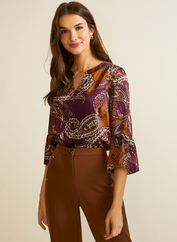 Paisley Print Bell Sleeve Top, Yellow,  fall winter 2020, top, bell sleeve, 3/4, paisley print, round neck