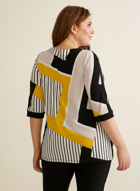Geometric Print Jersey Top, Yellow
