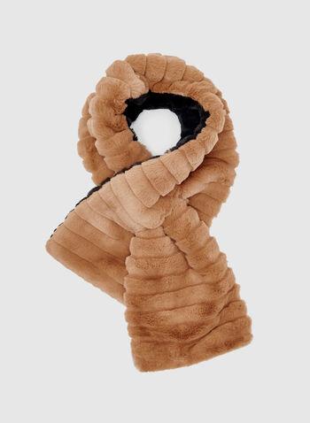 Reversible Faux Fur Scarf, Brown, hi-res