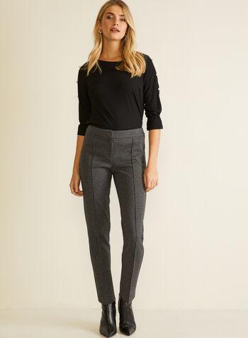 Pantalon coupe moderne pied-de-poule, Noir,  automne hiver 2020, pantalon, coupe moderne, pied-de-poule, jambe droite, pinces