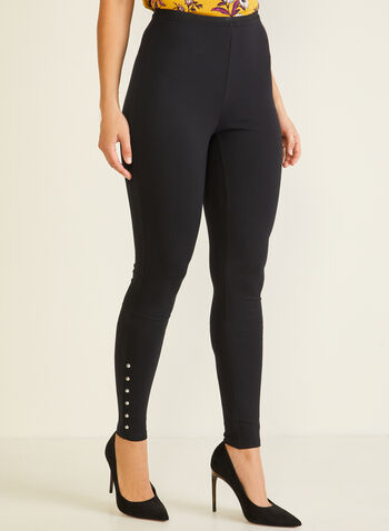 Stud Detail Leggings, Black,  legging, studs, ponte di roma, ankle length, pull-on, slim leg, fall winter 2020