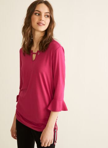 Elbow Sleeve Eyelet Detail T-Shirt, Purple,  t-shirt, elbow sleeves, bell sleeves, eyelet, stretchy, tie, spring summer 2020