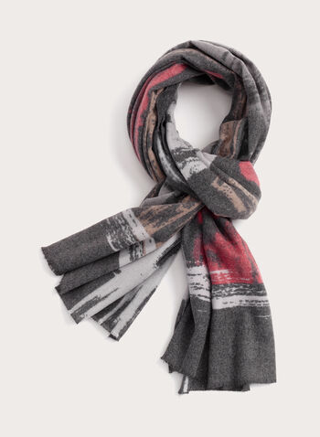 Fringed Abstract Print Scarf, Black, hi-res