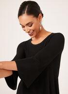 Pull tunique texturé à manches cloche, Noir, hi-res