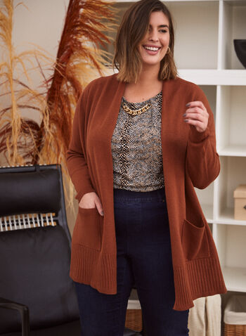 Mid-Length Cardigan With Pockets, Beige,  knit, cardigan, open front, long sleeves, rib knit, pockets, fall winter 2020