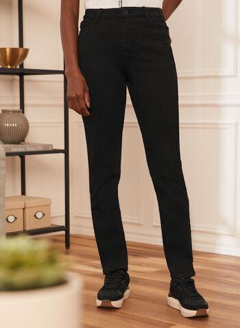 Jeans à jambe droite , Noir,  jeans, jambe droite, automne hiver 2020, 5 poches, ganses
