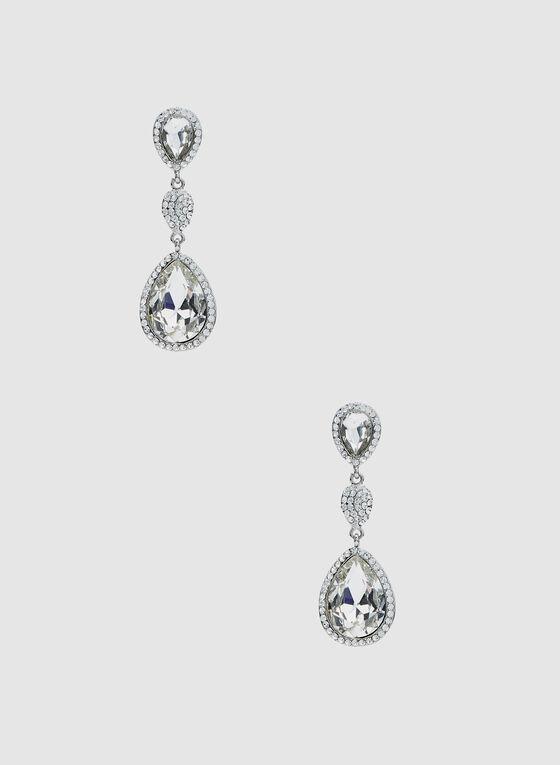 Boucles d'oreilles à pendants pierres et cristaux, Argent, hi-res