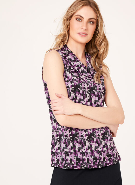 Abstract Print Sleeveless Top , Purple, hi-res