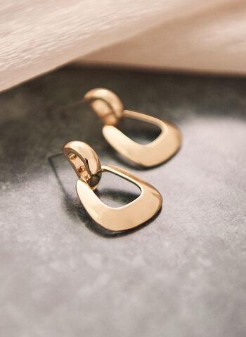 Boucles d'oreilles à carré ouvert, Or,  accessoire, bijou, boucles d'oreilles, doré, carré ouvert, tige, printemps été 2021