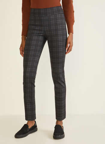 Tartan Print Pull-On Pants, Grey,  fall winter 2020, pants, tartan print, ponte di Roma, slim leg, pull-on