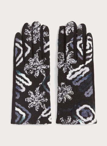 Abstract Knit Gloves, Black, hi-res