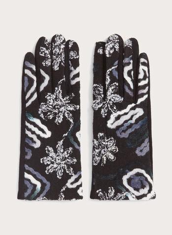 Gants à broderies abstraites, Noir, hi-res