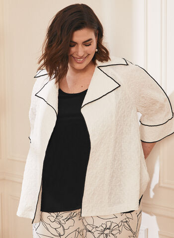 Joseph Ribkoff - Open Front Contrast Piping Jacket, White,  jacket, open front, contrast piping, notch collar, 3/4 sleeves, crinkle, ribkoff, lyman, spring summer 2021