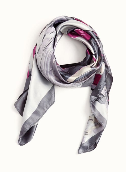 Abstract Painting Print Scarf, Grey, hi-res