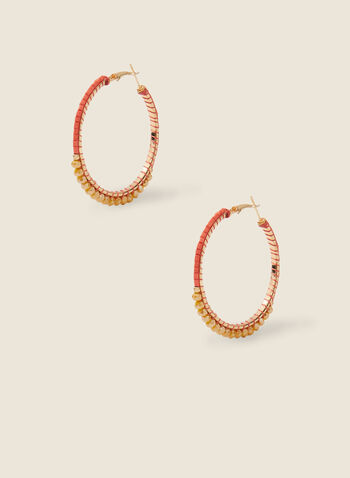 Stone Detail Hoop Earrings, Orange,  earrings, hoop, stone, metallic, spring summer 2020
