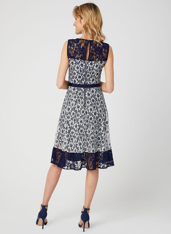 Floral Lace Illusion Dress, Blue, hi-res