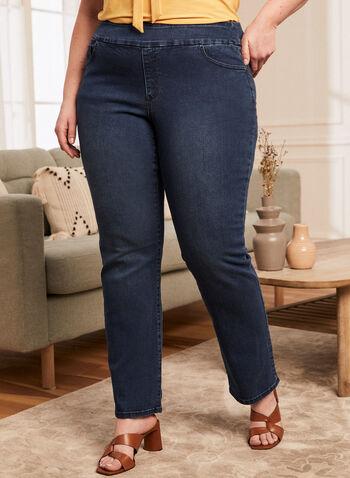Jeans à enfiler à jambe droite , Bleu,  printemps été 2021, jeans, denim, à enfiler, pull-on, jambe droite, poche