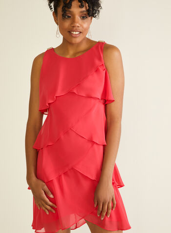 Tiered Sleeveless Dress, Red,  cocktail dress, chiffon, tiered, brooch, ruffled, spring summer 2020