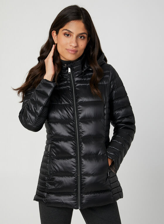 Packable Quilted Down Coat, Black