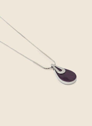Teardrop Pendant Necklace, Purple,  necklace, pendant, teardrop, stone, metallic, snake chain, fall winter 2020