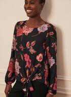 Floral Print Tie Detail Blouse, Black