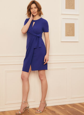 Tie Detail Day Dress, Blue,  dress, round neck, keyhole, short sleeves, twist, tie, scuba crepe, spring summer 2021