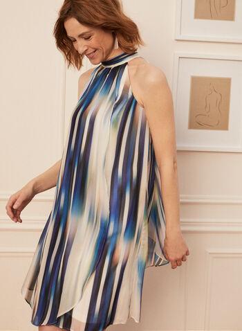 Robe sans manches motif abstrait, Bleu,  robe de jour, sans manches, mousseline, col montant, rayures, abstrait, printemps été 2020