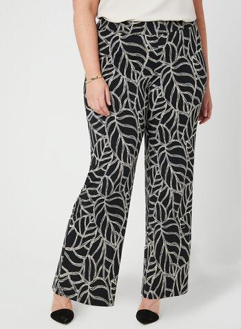 Pantalon coupe moderne à motif feuilles, Noir, hi-res,  printemps été 2019, contrastant, jambe large, pull-on