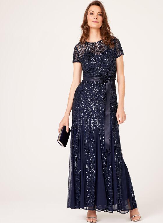 Sequin Embellished Mesh Dress, Blue