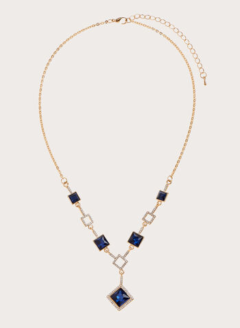 Stone & Crystal Necklace , Blue, hi-res