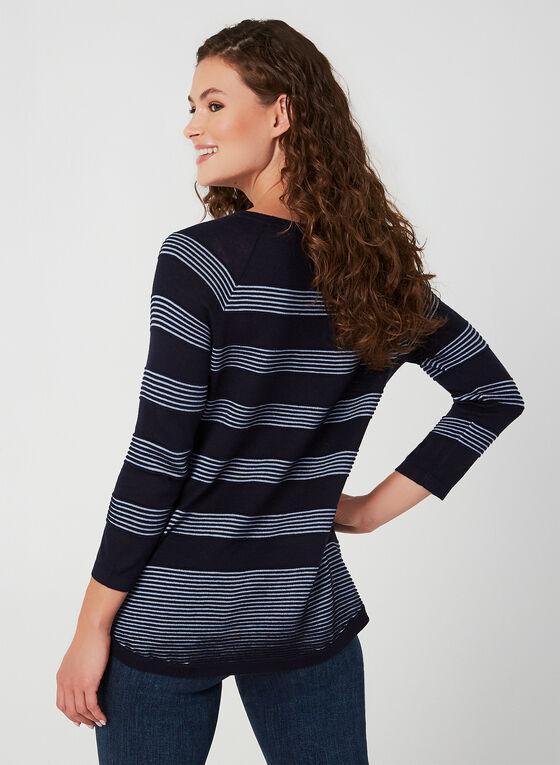 Pull en tricot à rayures ottoman, Bleu