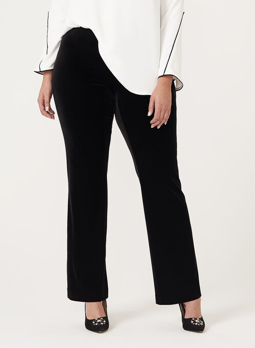 Pantalon pull-on en velours à jambe large, Noir, hi-res