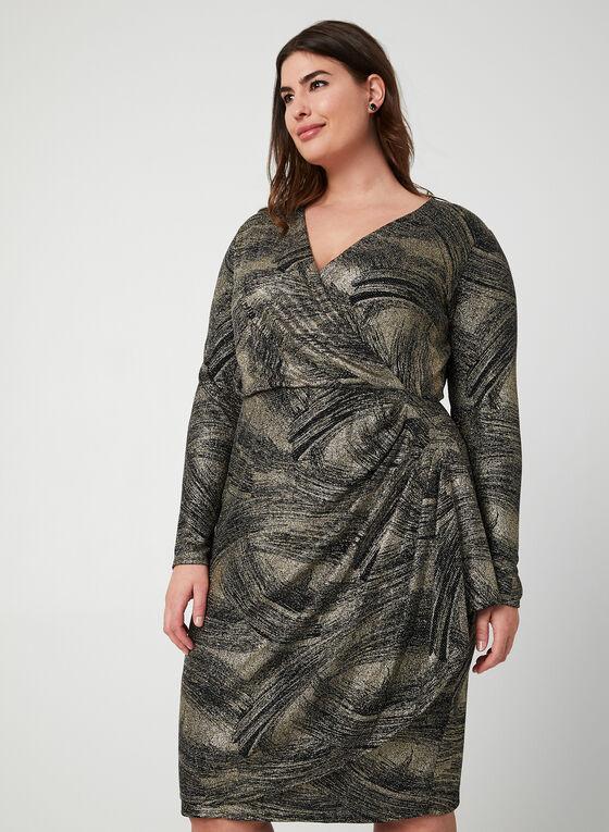 Robe pailletée à manches longues, Noir