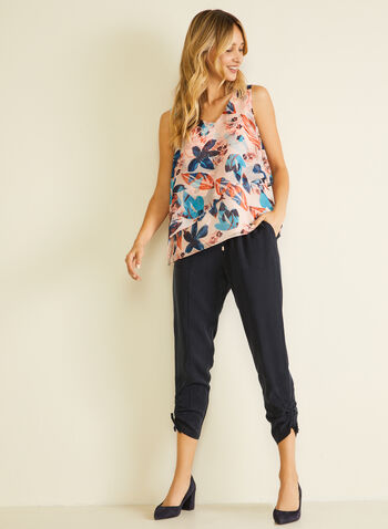 Drawstring Detail Tencel Pants, Blue,  pants, straight, drawstring, modern, pull-on, pockets, tencel, spring summer 2020
