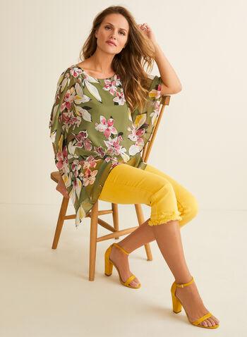 Blouse poncho à motif floral, Vert,  printemps été 2020, blouse, poncho, mousseline, manches courtes, fleurs, fleuri, floral, motif