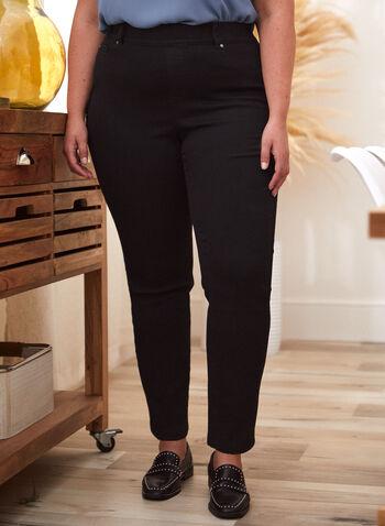 Jeans à enfiler à jambe droite , Noir,  automne hiver 2021, jeans, denim, à enfiler, pull-on, poches, fermeture éclair, jambe droite